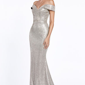 Silver Bridesmaid Trumpet Long Dress
